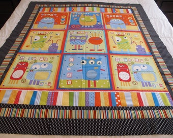 """Googlie Monsters quilt top 45"""" x 53"""" toddler blanket This is a DIY Unfinished Quilt Top and can be custom finished for additional fees"""