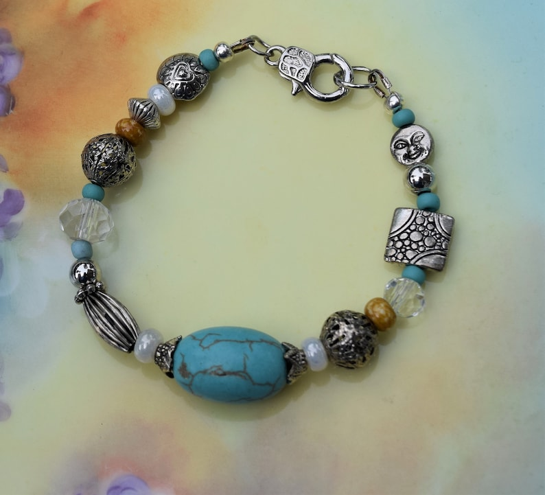 -Turquoise and Ochre Accents with a tiny moon Boardwalk Bracelet