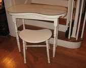 Vintage Kidney Shaped Vanity Dressing Table With Glass Top U0026 Matching Stool  Bench Mid Century Table
