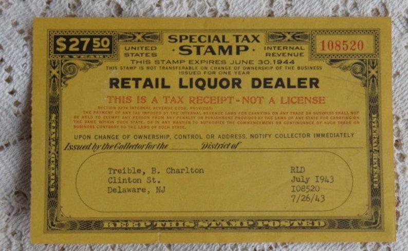 Vintage Tax Stamp Retail Liquor Dealer Delaware, New Jersey July 1943  Internal Revenue Alcohol Tax
