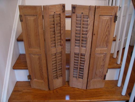 4 Antique Shutter Panels Interior Wood Louver Shutters Window | Etsy
