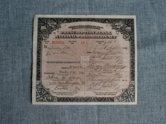 vintage prohibition whiskey prescription pharmacy medical etsy