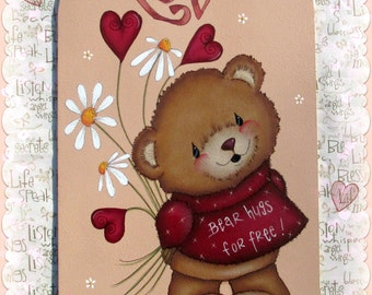 E PATTERN - Bear Hugs! Sweet little bear ready to share his Love ~ Designed & Painted by Sharon Bond