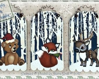 E PATTERNS - ALL THREE Friends from Birch Woods - Winter Ornaments or Decorations - Bear, Fox & Deer - Painted and Designed by Sharon Bond