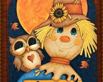 E PATTERN - Fall Friends! A friendly scarecrow and owl on a beautiful Fall night! Designed & Painted by Sharon Bond
