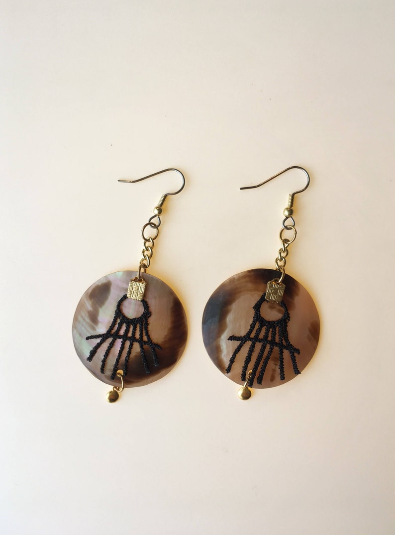 Statement tiger mother of pearl earrings