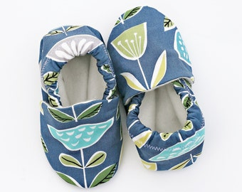 Tulip Flower Baby Shoes on Dark Blue. Organic Baby Soft Sole Shoe.  Waldorf Organic Slipper in Teal, Gray and Lime Green Flowers.