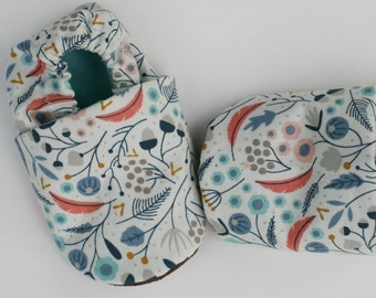 Organic Baby Shoes- Nature Print- Feather, Branch, Leaf in Coral, Blue, Gray and White 0 3 6 12 Months
