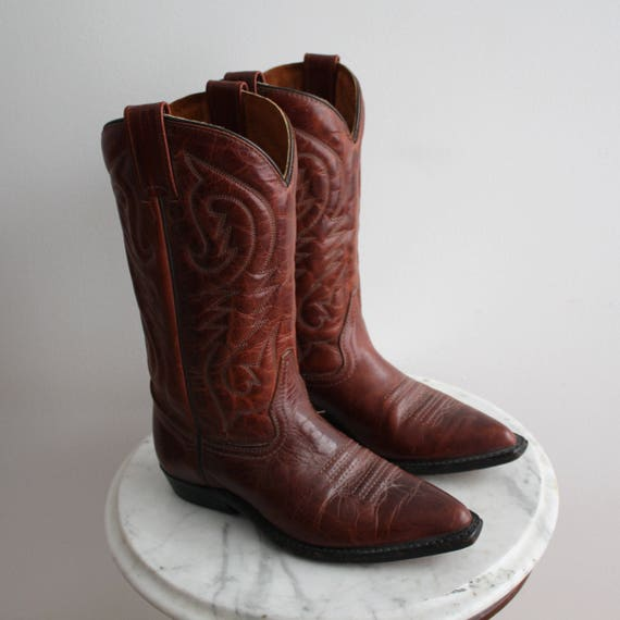 Cowboy Boots 6.5 Women's Brown Leather Red 1980s V