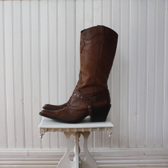 Cowboy Boots 8 STAR Brown Leather Stud Women's Jew