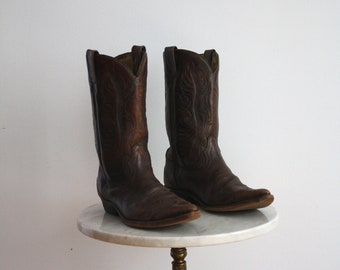 Cowboy Boots Leather Brown - Men's 8 - 1970s VINTAGE