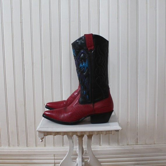 Cowboy Boots Red Blue Women's Leather Detailed
