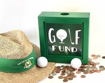 17cbc5a9368 Golf shadow box bank - gift for golfer dad - green golf ball piggy bank -  gold fund bank box -