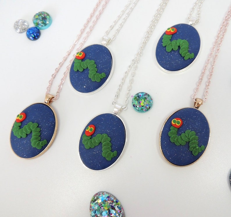 LIMITED EDITION The Hungry Caterpillar pendant necklace  rose gold chain  ball chain