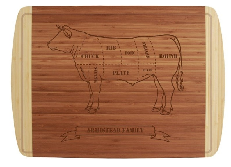 Engraved Butcher Beef Cuts Cutting Board 18x12 with Groove Chef Gift or Kitchen Display Classic Wedding Gift with Personalization