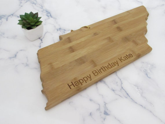 Personalized Wisconsin State Shaped Cutting Board by Left Coast Original