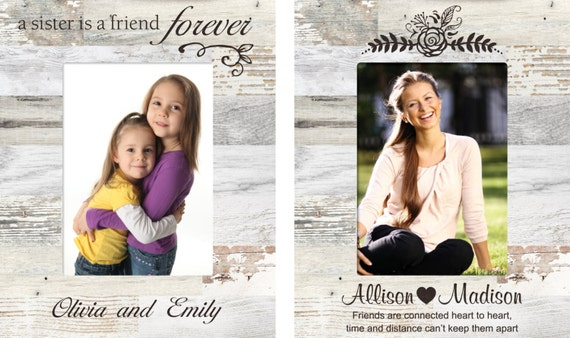 Personalized Best Friends Photo Frame Engraved Sister Wood Etsy