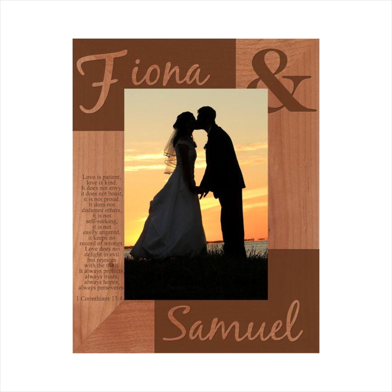 Portaretrato grabado madera boda marco modificado para