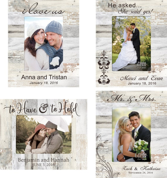 Marco de fotos de boda personalizado grabado de madera marco