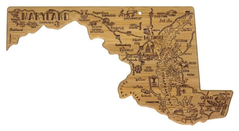 Personalized Maryland Cutting Board -Landmarks Maryland Bamboo Cutting Board Custom Engraved Wedding Gift State Gift Housewarming Gift