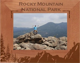 Personalized Mountains Photo Frame - Engraved Wood Picture Frame - Customized Mountaintop designed frame - Vacation Travels Memory Gift