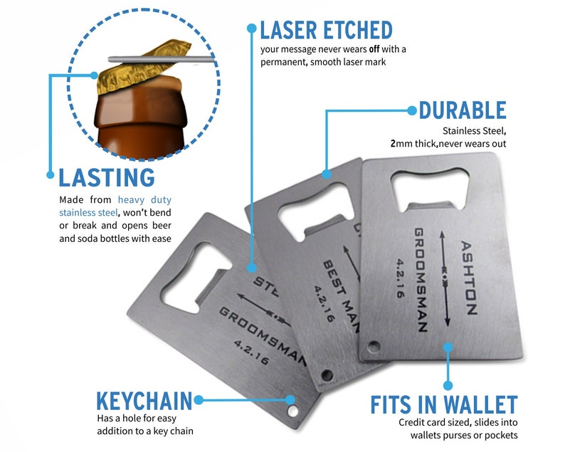engrave opener wedding favor personalized party favor 155 of Personalized Stainless Steel Credit Card Bottle Opener groomsman gift