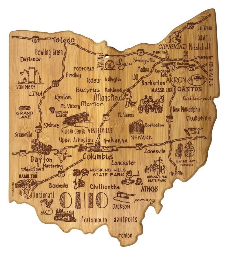 Personalized Ohio Cutting Board -Landmarks Ohio Bamboo Cutting Board Custom  Engraved - Wedding Gift - Housewarming Gift - State Gift