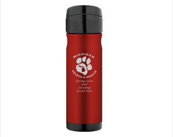 Engraved 16oz Leak-Proof Backpack Bottle - Custom Engraved Stainless Steel Thermos Brand Bottle - Personalized Travel Water Bottle