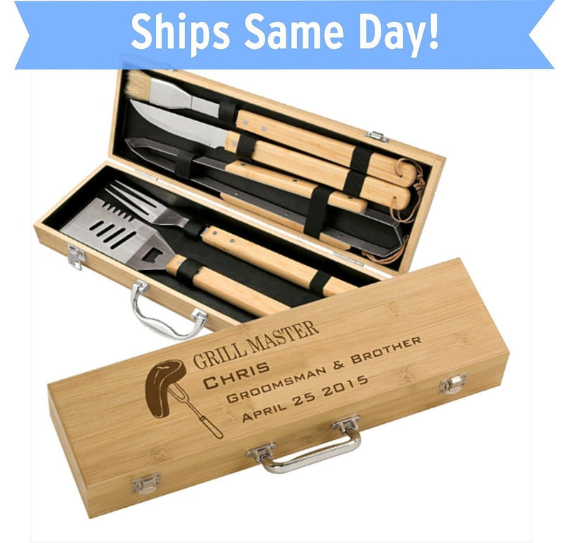 Personalized Grill Master Bamboo 5 piece BBQ Gift Set  image 0