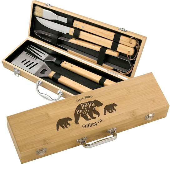 BBQ SET 5 tools Custom engraved//personalized grilling set with 5 useful Barbeque grilling tools in natural bamboo case