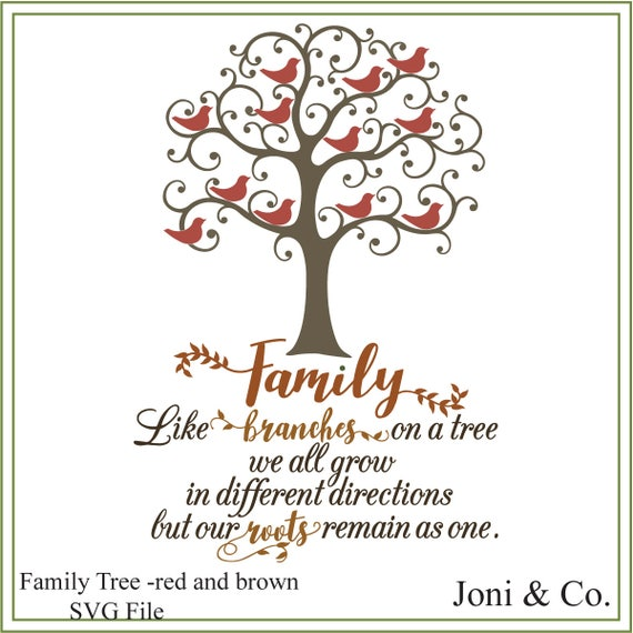 Family Tree Svg Like Branches Of A Tree Svg Printable Red Etsy
