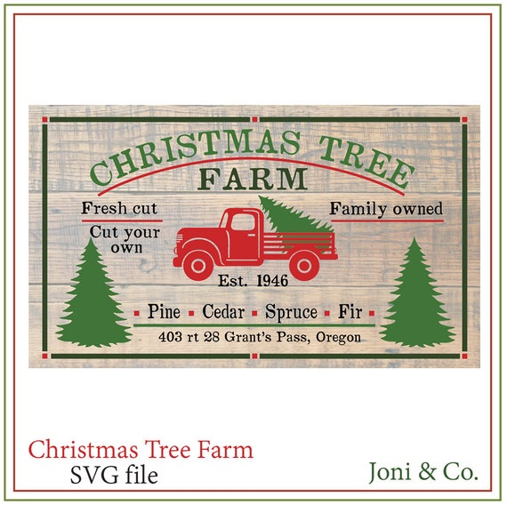 Christmas Tree Truck Farm Sign Svg Red Truck Svg Rustic Etsy
