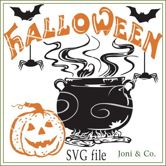 Halloween Svg File Pumpkin And Caldron Illustration Svg File Etsy