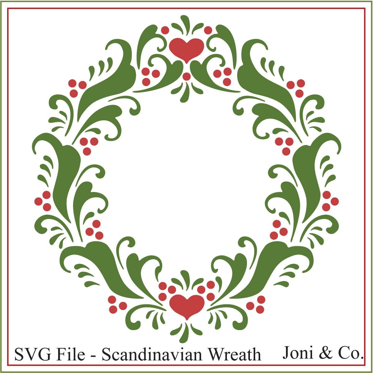 Christmas svg Scandinavian Wreath svg Swedish Christmas | Etsy