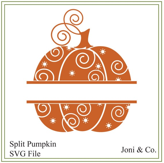 Pumpkin Svg Split Halloween Pumpkin Svg Autumn Illustration Etsy