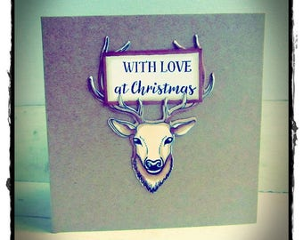 Handmade Christmas Cards Cute Reindeer with sparkly nose