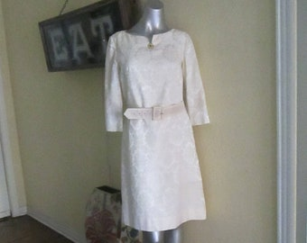 1950s Brocade Dress White Jeweled Buttons Size 8 10
