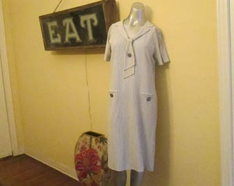 1950s Sailor Dress Large Pinstripe / Cay Artley Midi Size 14