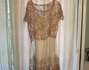 1960s Crochet Lace Sheer Dress Large Boho Wedding Dress Style
