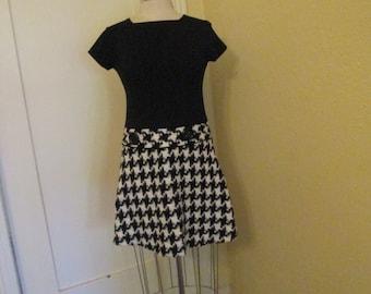 Vintage Mod Black White Check Minidress XS