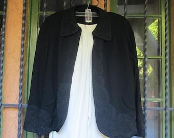 ba6de358478 Gorgeous Embroidered 40s Style Swing Jacket   Black Zelda Jacket Large