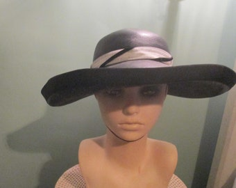 de94e35b8c65c Vintage Wide Brim Straw Black White Hat Chin Strap by Lecie