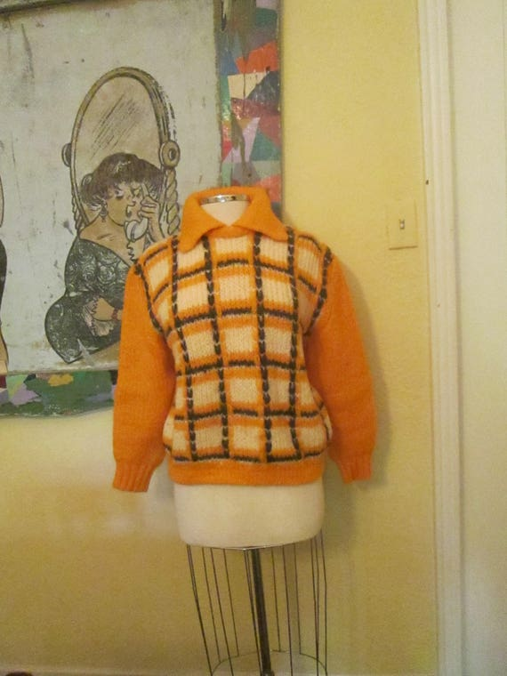 Vintage Large XL Orange Mohair Sweater Pullover Br