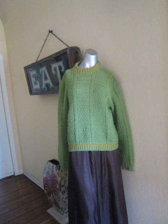 60s Pullover Sweater Women Med Large Green Apple O