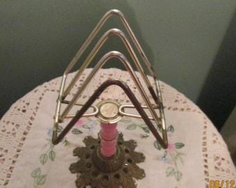 1950s Towel Napkin Rack Caddie 3 Slots Pink Metal Free Standing