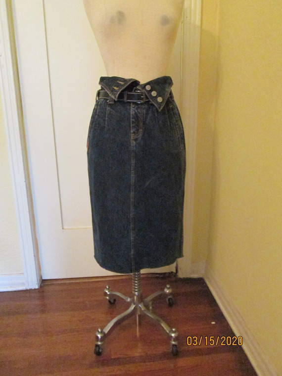 80s Jordache High Waist Denim Skirt Foldover Waist