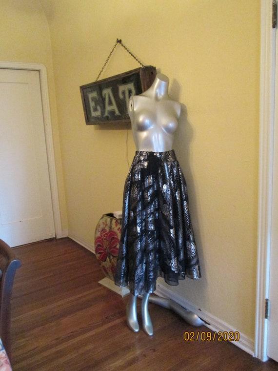 Vintage Dressy Skirt France Black Silver Metallic