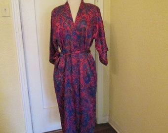 Vintage Satin Robe Wrap Paisley M L Maryann's Boutique