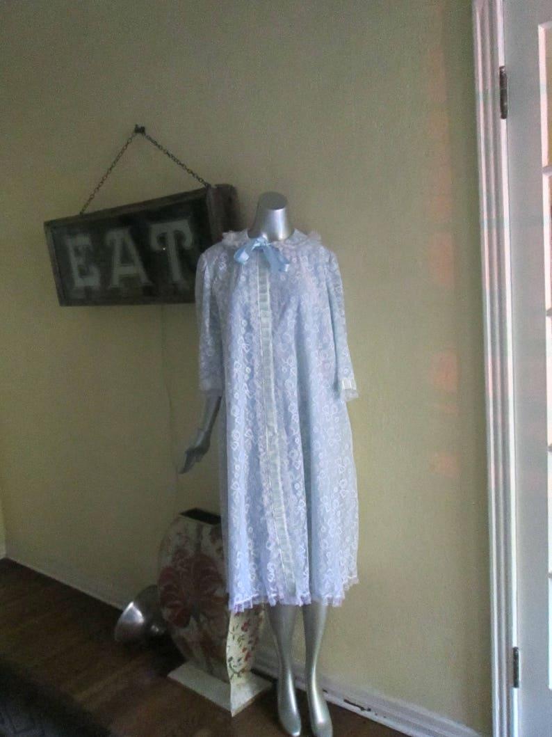Vintage Large XL Blue Lace Robe Odette Barsa 60s Light Blue Lace Women Robe