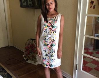 60s Floral Shift / Vintage Sleeveless Dress / Size Small Retro Dress